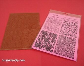Floral ATC Backgrounds / Invoke Arts Collage Rubber Stamps / Unmounted Stamp Set