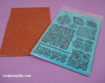 Sale / Textile Patterns / Invoke Arts Collage Rubber Stamps / Unmounted Stamp Sets