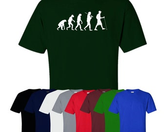 Evolution Of Man Hiking T-shirt Walking Exercise Fitness Printed Tee Womens Mens