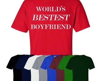 World's Bestest Boyfriend T-shirt Valentines Gift Boyfriend Fun Mens Womens UK Ships Worldwide S-XXL