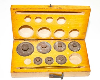 Antique 1920s Apothecary Scale Weights in Box with Tweezers