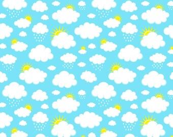 Knit Aqua Clouds Fabric 1/2 yard