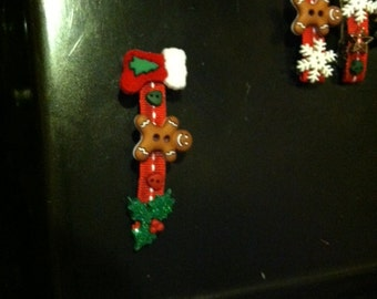"christmas barrette 3"" stocking, gingerbread and mistletoe"