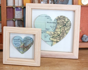 Small & medium Vintage Map 3D Butterfly Hearts. Choose a favourite location for your own bespoke butterfly heart picture!