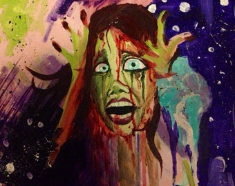 """Abstracted Carrie Acrylic Painting 11""""X14"""""""