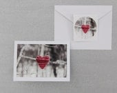Set of Three Knit Heart Note Cards