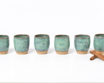 set of six-pack ceramic tea and espresso cups + sugar bowl