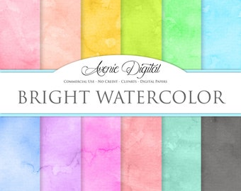 Bright Watercolor Digital Paper. Scrapbooking Backgrounds, Paint patterns for Commercial Use. Rainbow watercoulours. Instant Download.