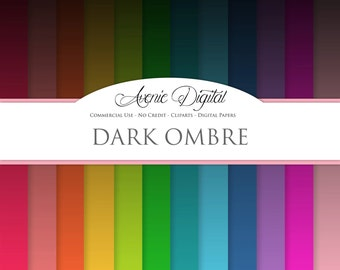 Black Ombre Digital Paper. Scrapbooking Backgrounds, dark gradient patterns for Commercial Use. Dip Dye Rainbow. Instant Download.