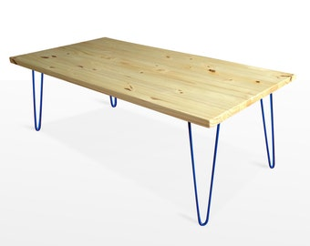 Mid Century Modern Coffee Table, Mid Century Modern Furniture, blue Hairpin Legs, Reclaimed Wood table
