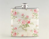 Rose Vintage White  Liquor Hip Flask, Stainless Steel Flask 6 oz / 8 oz FK0425