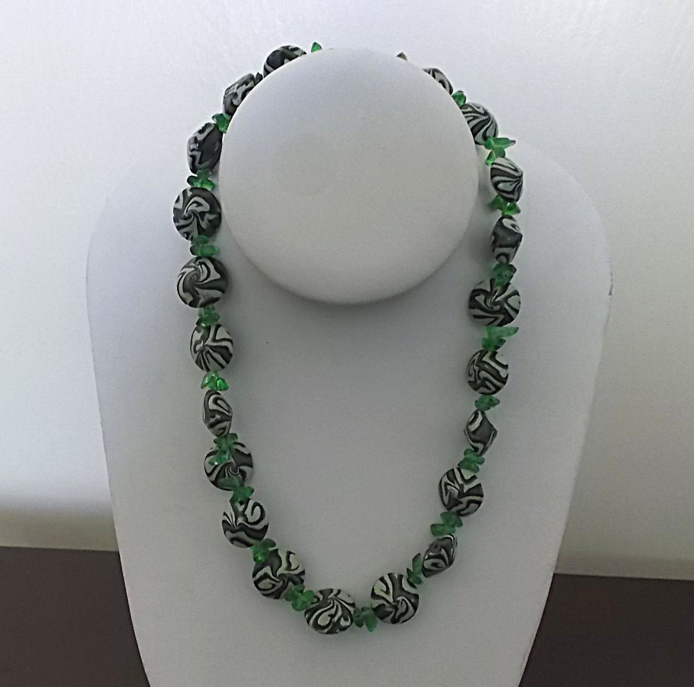 green polymer clay camo beaded necklace with by azdesertbeads