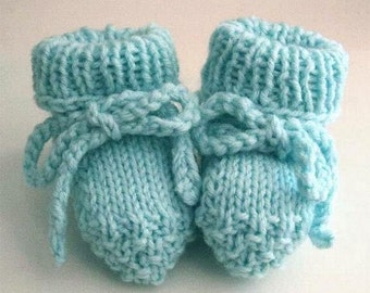 Hand Knitted Baby Booties 0 - 3 mos