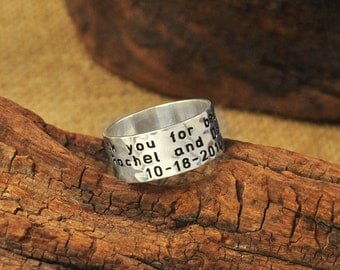Custom Engraved Wide Ring, Silver ring, Personalized Ring,925 Sterling Sliver Custom Jewelry  hammered ring  gift for boyfriend
