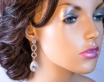 Wedding Earrings Zirconia Earrings Wedding Jewelry Bridesmaid Earrings Bridesmaid Accessories Dangling Teardrop stl18