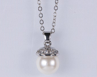 Bridal Necklace Ivory Pearl Necklace pendant Necklace Cream Pearl Swarovski Sterling silver Necklace Bridesmaid Gift Wedding Jewelry n41