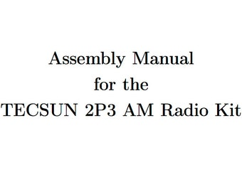 2P3 Assembly Manual Supplement