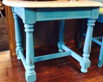 Vintage Teal Solid Wood repurposed end table