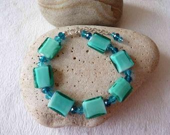 Blue Lampwork & Crystal Glass Bead Bracelet