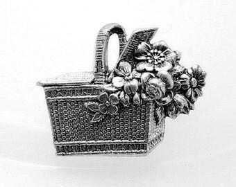 1pcs--Basket of Flowers, Metal Stampings, Antique Silver, 35x27mm (B22-2)