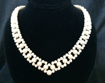 """Gorgeous 1960's Faux Pearl Necklace! Creamy Lustrous Faux Pearls Strung into a Unique Plunging V Design. May be Worn Between 18"""" and 20""""."""