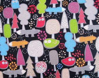 half yard (140cm x 45cm) Vinyl Waterproof Fabric - Lovely Owls and tree - black