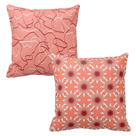 Salmon Pillow Coral Pillow Cover Salmon Pink by DesignbyJuliaBars