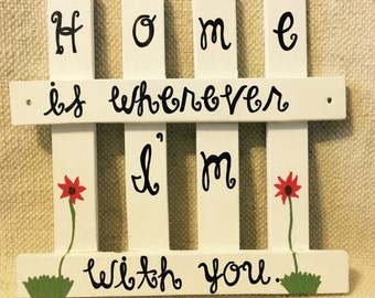 White Pickett Fence Home Wall Hanging - Hand-painted