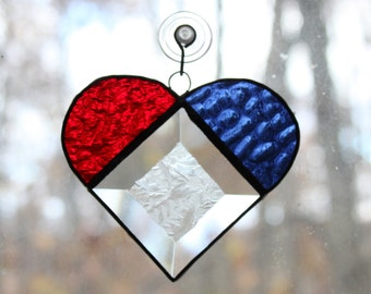 Handmade Stained Glass Patriotic Red, White & Blue Heart Suncatcher