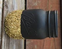 Black & Gold Glitter Mason Jar - Perfect for Makeup Brushes, Toothbrush, Pens, Wedding Centerpiece, Baby Shower, Bridal Shower, Elegant Jars
