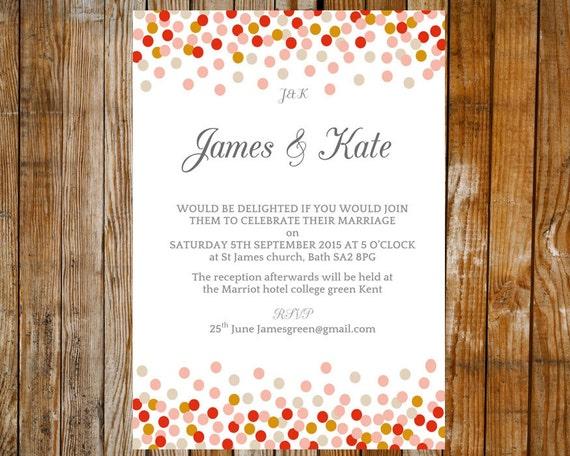 Wedding invitation template - Confetti (pink and peach) – DOWNLOAD ...