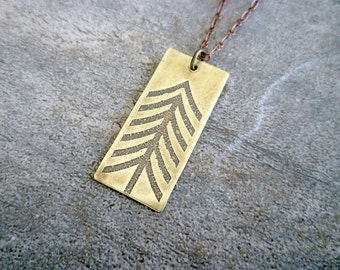 Etched Brass Pendant/Antiqued Brass Necklace/Etched Brass Jewelry/Oxidized Brass Pendant Necklace/Arrow/Chevron/Abstract