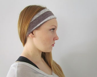 Wide Stretchy Headband, Brown Stripe Headband, Runner's headband, elastic headband, scrunchie, striped headband, Running Headband,Knit Head