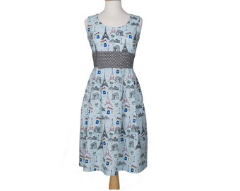 Paris Print Dress Available in sizes 2-14