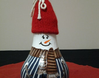Hand-Painted Blue-Vested Snowman Light Bulb Ornament