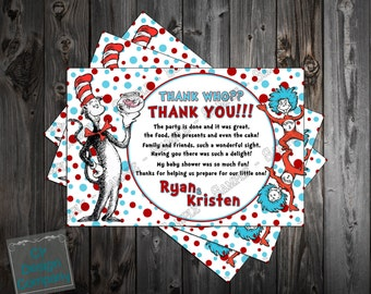Dr. Seuss Cat in the Hat Baby Shower Thank You Card Printable