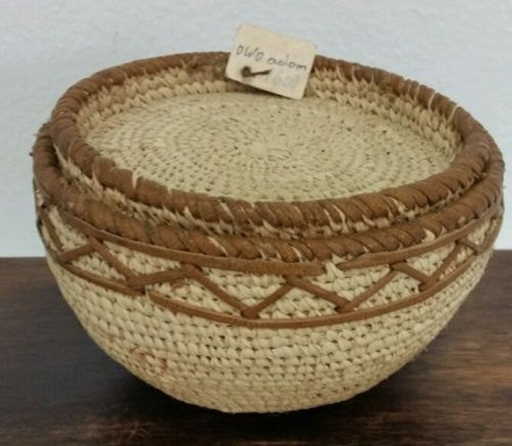 African Baskets With Lids: Vintage African OWO Woven Basket Bowl With By