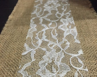 Burlap Lace table runners