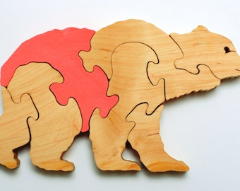 Wooden Bear puzzle for childrens.