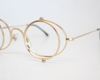 Unused Gold Double Lens Vintage Eyeglass Frames New Old stock Vintage Eyewear 1980s Vintage Glasses Unique Deadstock Sunglasses