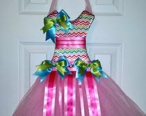 Rainbow Chevron Tutu Bow Holder and Clip Holder Baby Shower Gift Birthday Gift Hair Accessory Oraganizer
