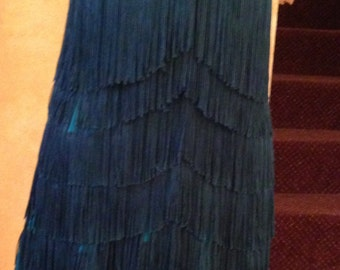Green fringe dance dress