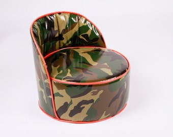 Camo Green Orange Oilcloth Booster Seat