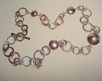 Reticulated copper and fine silver beads and links necklace