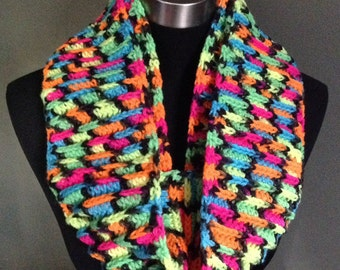 Handmade circle scarf in neon colors.