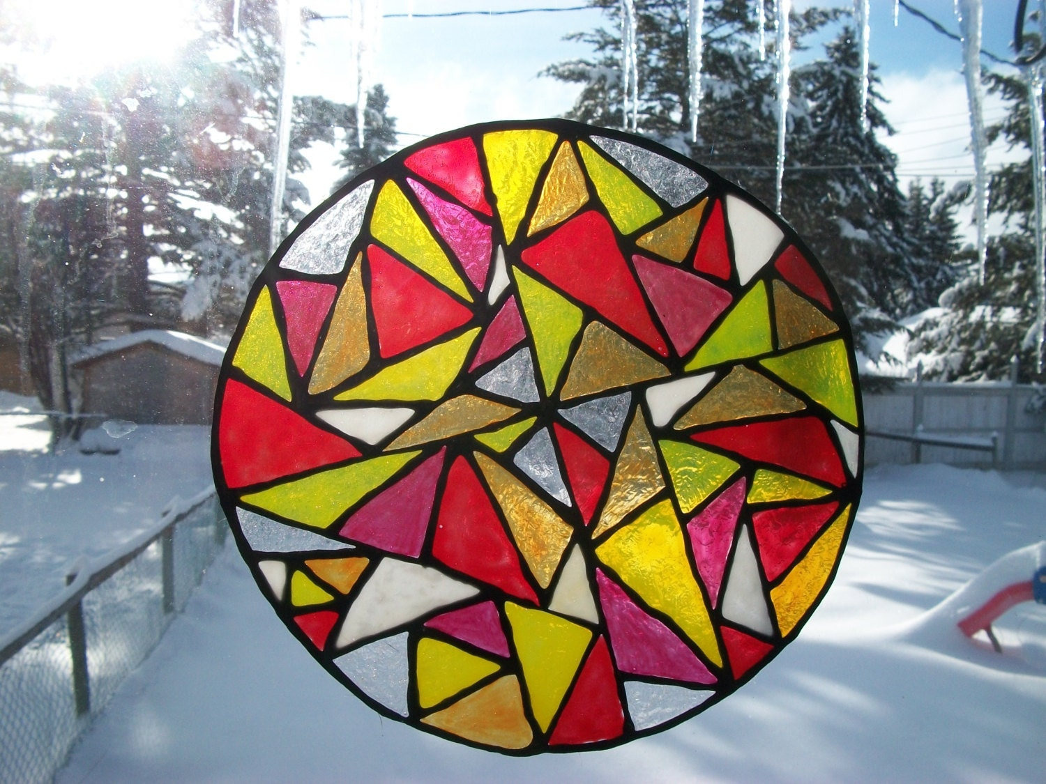 stained glass window cling suncatcher stained glass painting. Black Bedroom Furniture Sets. Home Design Ideas