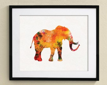 Elephant Watercolor Painting  Nursery art Wall Art Wall Decor Art Home Decor Wall Hanging No.007