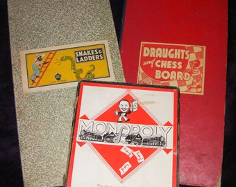 Vintage, Retro Games - Monopoly, Snakes and Ladders, Draughts and Chess Board