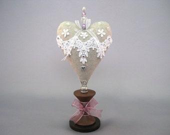 Heart Pincushion with Linen and Lace