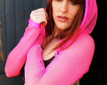 Hoody fishnet shrug top jacket small hole bright punk goth cyber rave wear club wear plur lots of colours